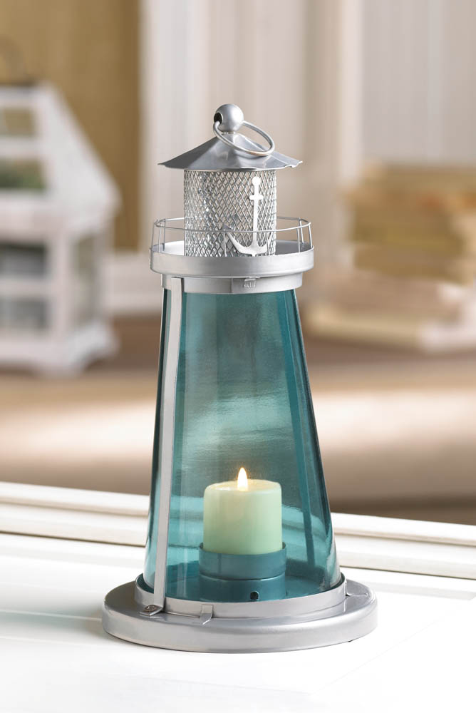 BLUE GLASS WATCH TOWER CANDLE LAMP 10015433