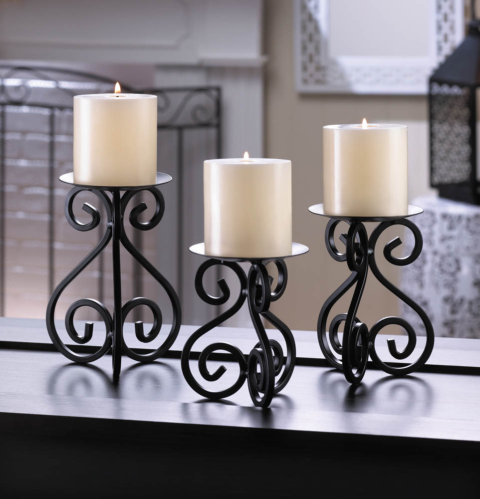 SCROLLWORK CANDLE STAND TRIO 10015838