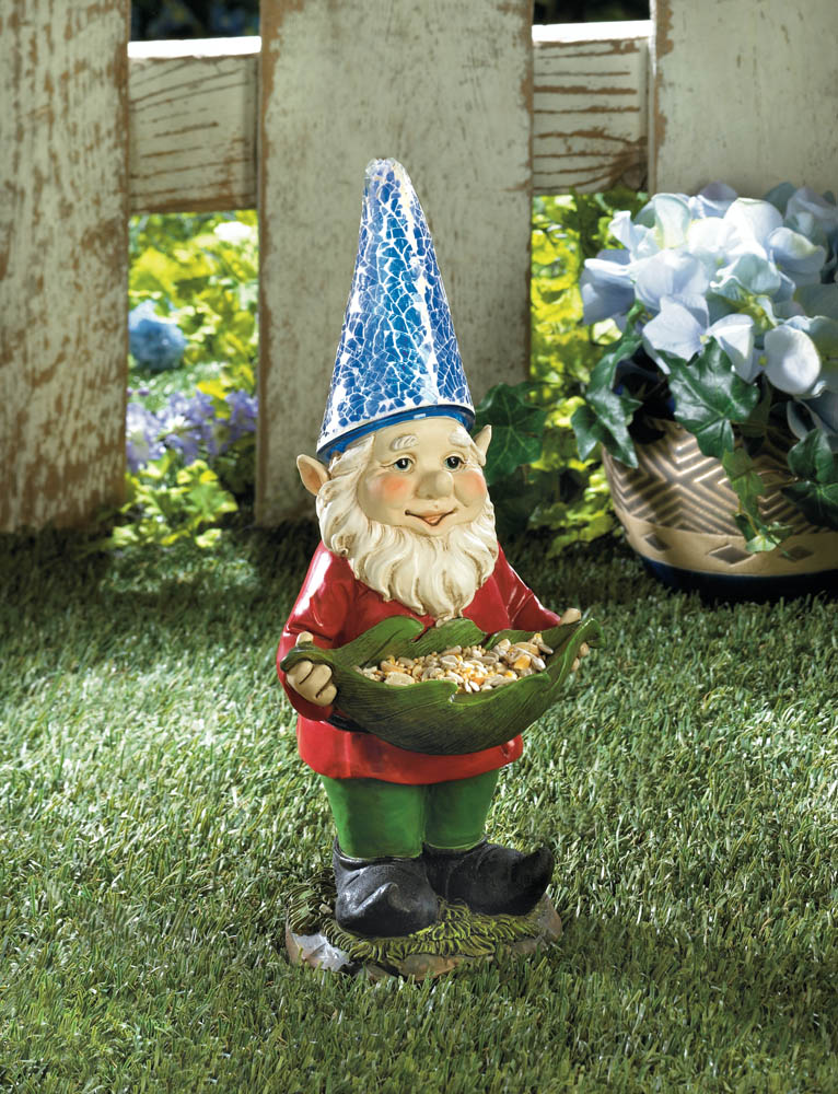 BIRD FEEDER GNOME SOLAR STATUE 10016218