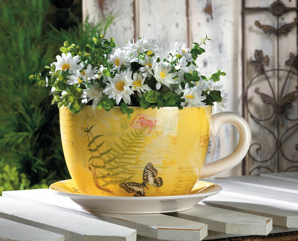 LARGE GARDEN BUTTERFLY TEACUP PLANTER 10016838