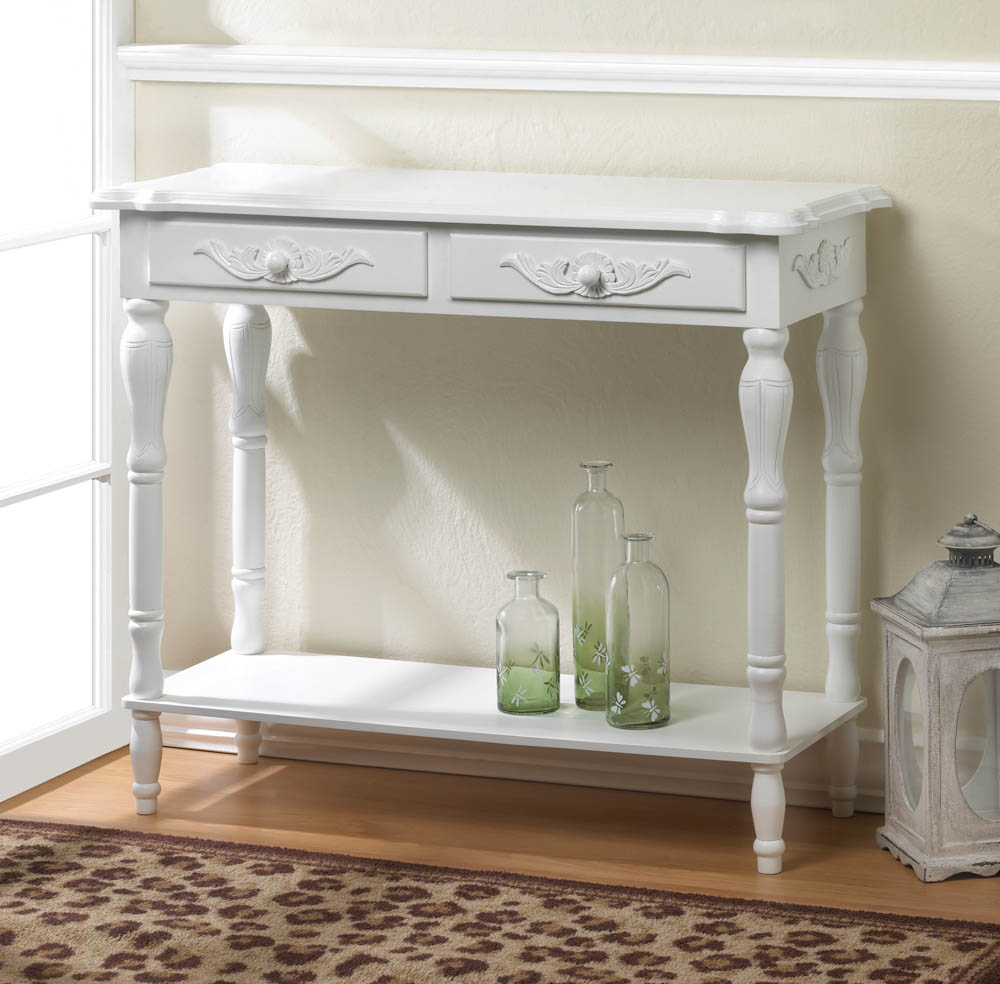 CARVED WHITE HALLWAY TABLE 10016841