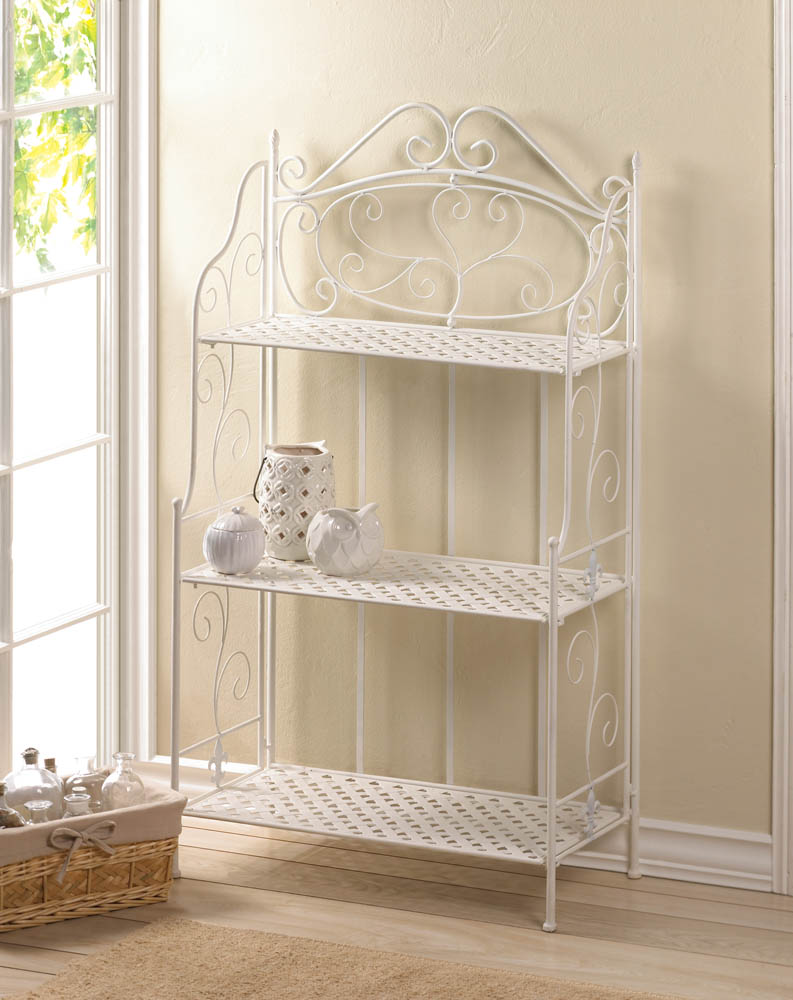 WHITE BASKET WEAVE BAKERS RACK 10017509