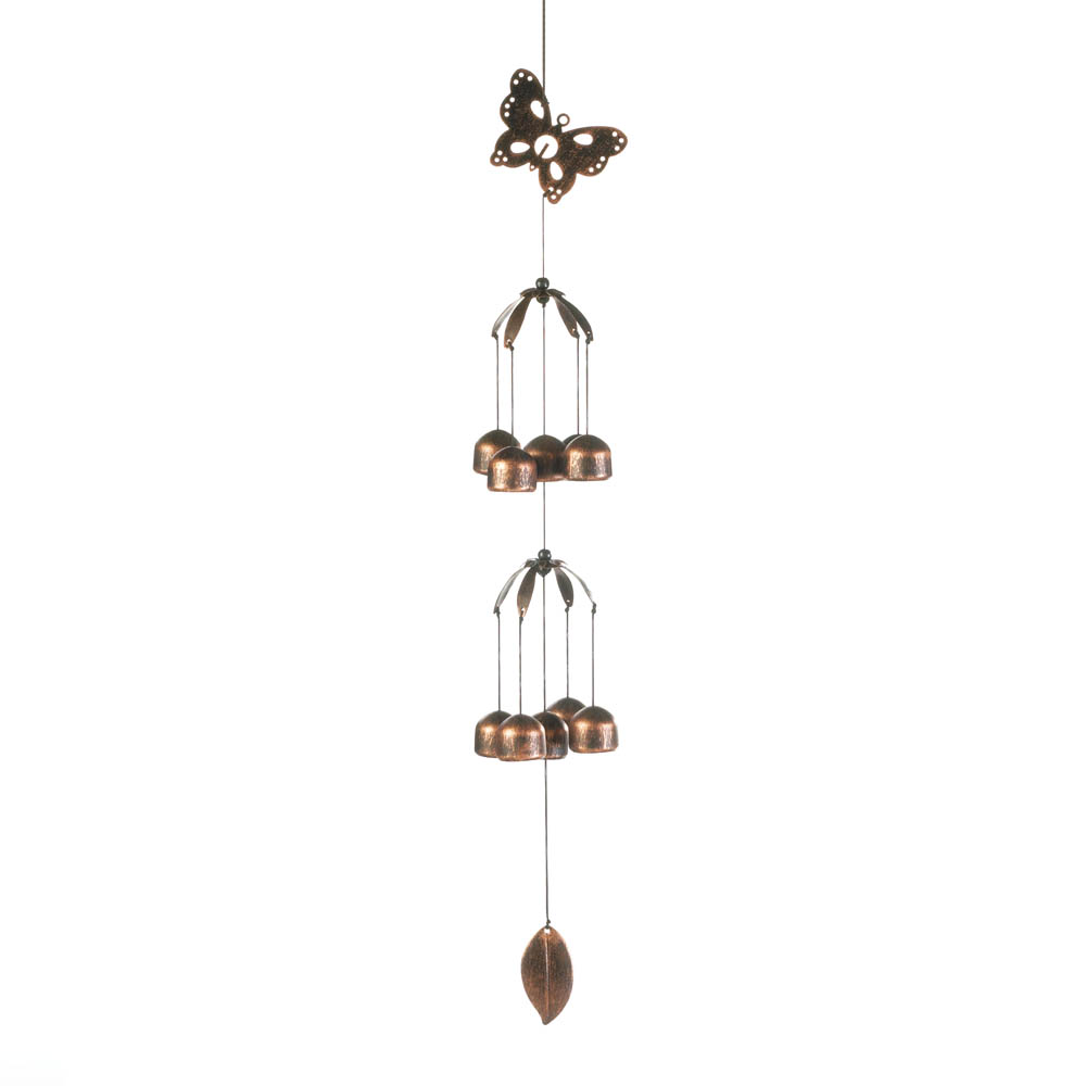BUTTERFLY DOUBLE TIER BELL WIND CHIMES 10017707