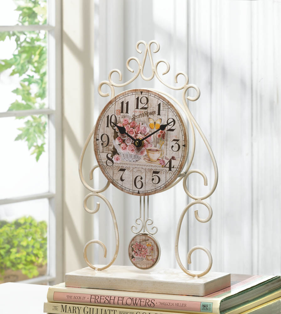COUNTRY ROSE TABLETOP CLOCK 10018004