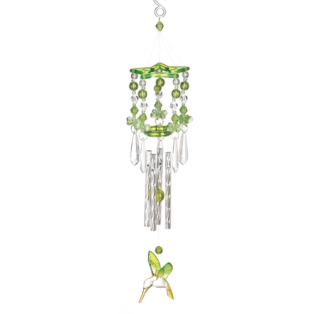 GREEN HUMMINGBIRD WIND CHIMES 10012506