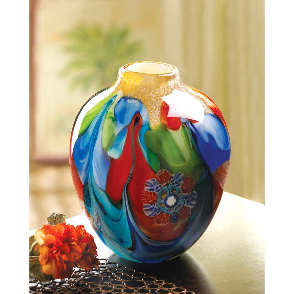 FLORAL FANTASIA ART GLASS VASE 10012982