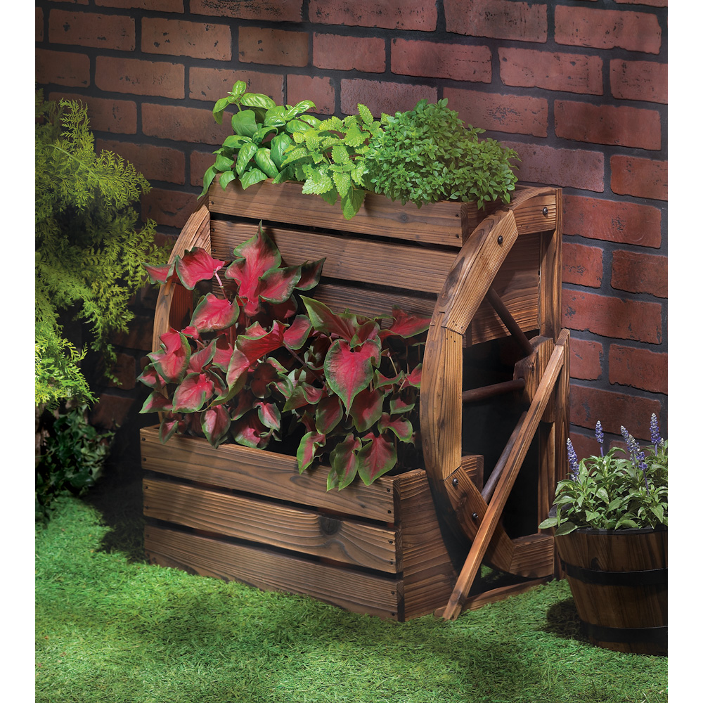 WAGON WHEEL DOUBLE-TIER PLANTER 10013842