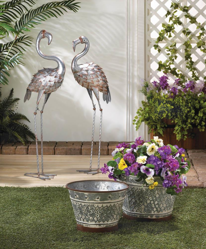 GALVANIZED FLAMINGO STATUE 10018786
