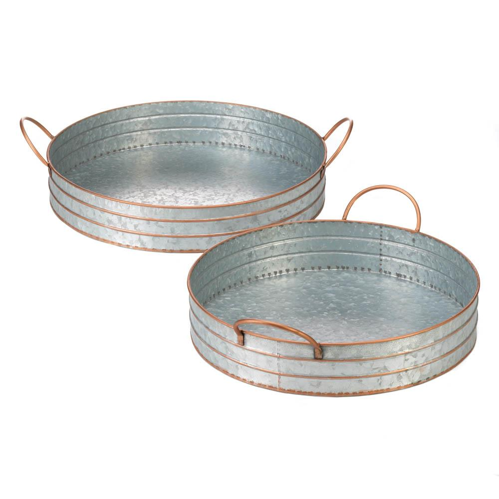 ROUND GALVANIZED METAL TRAY DUO 10018835