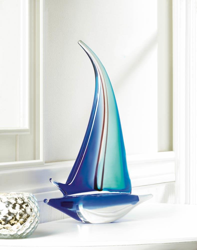 SAILOR BOAT ART GLASS STATUE 10017382