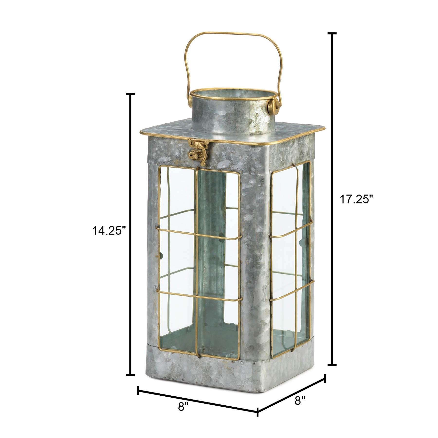 SMALL FARMHOUSE GALVANIZED LANTERN 10018813