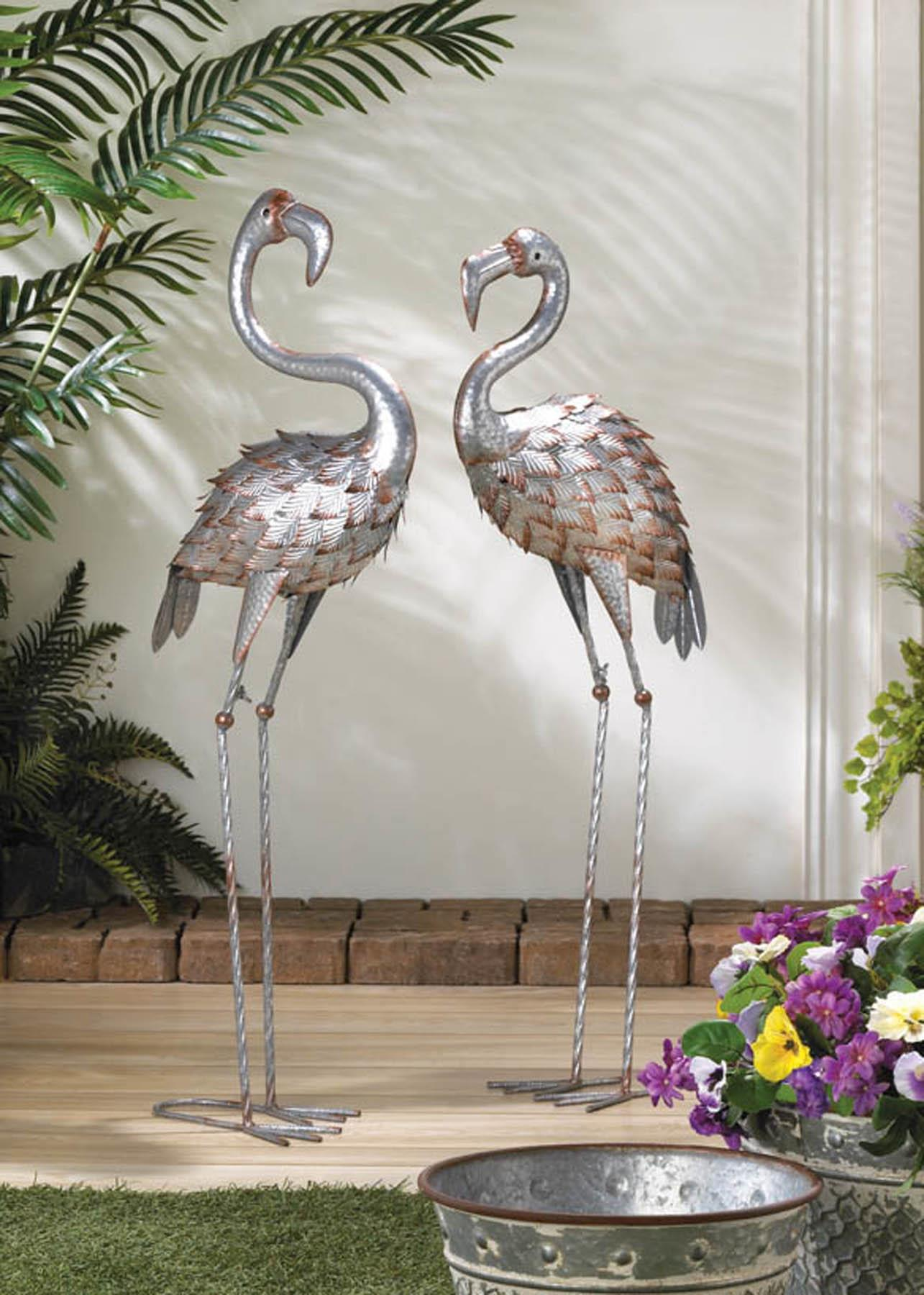 STANDING TALL GALVANIZED FLAMINGO STATUE 10018785