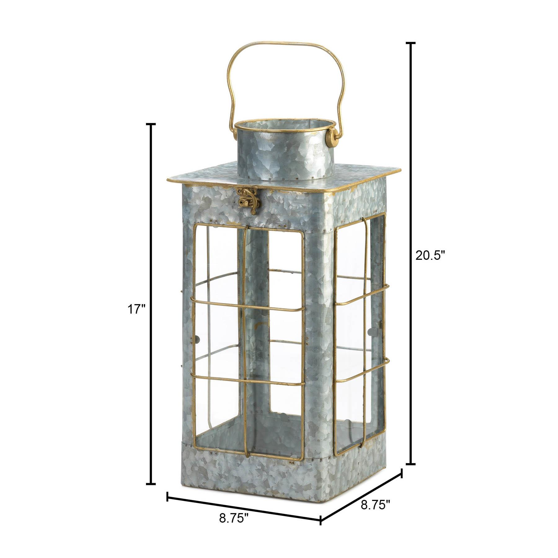 FARMHOUSE GALVANIZED LANTERN 10018640